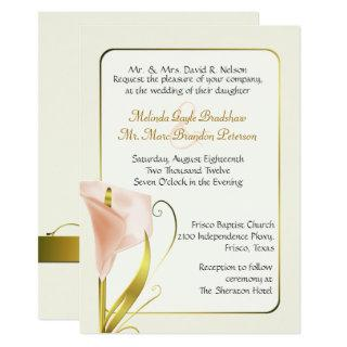 Elegant Coral Calla Lily Wedding Invitation
