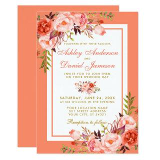 Elegant Coral Floral and Gold Wedding Invitations