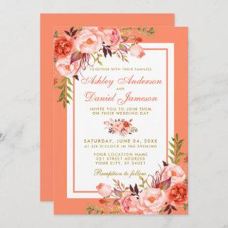 Elegant Coral Floral and Gold Wedding Invitation