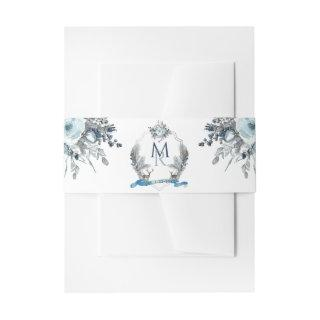 Elegant Crest with Initials, Dusty Blue Floral Invitations Belly Band