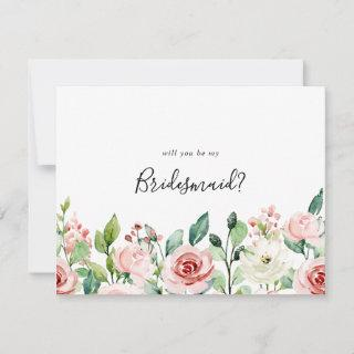 Elegant Dainty Autumn Floral Bridesmaid Proposal Note Card