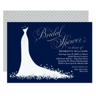 Elegant Dark Navy and Silver Gown Bridal Shower Invitations