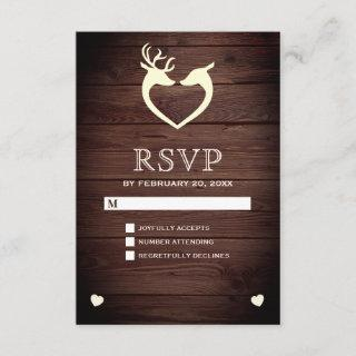 Elegant Deer Heart Rustic Wood RSVP
