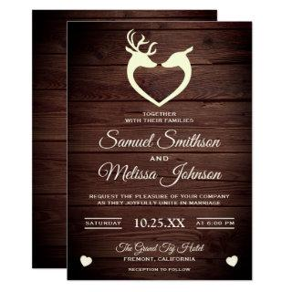 Elegant Deer Heart Rustic Wood Wedding Invitations