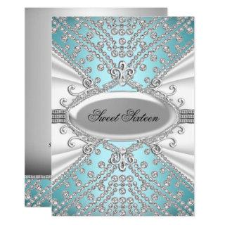 Elegant Diamond Blue Sweet 16 Party Invite