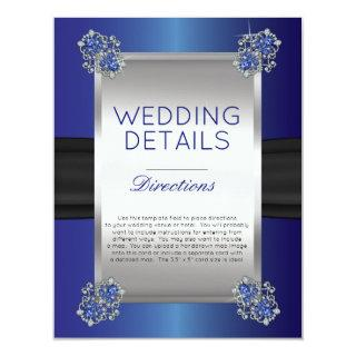 Elegant Diamonds Sapphire Wedding Details Insert Invitation