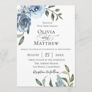 Elegant Dusty Blue Botanical Wedding Invitations