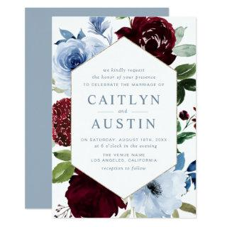 Elegant Dusty blue burgundy flowers wedding Invitation