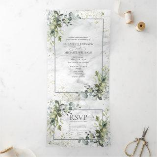 Elegant Dusty Blue Eycalyptus Greenery Marble Tri-Fold Invitations