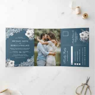 Elegant Dusty Blue Floral Lace Wedding Photo Tri-Fold Invitations