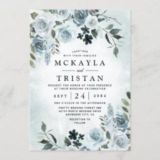 Elegant Dusty Blue Floral Watercolor Navy Wedding Invitations
