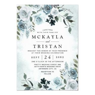Elegant Dusty Blue Floral Watercolor Navy Wedding Invitation