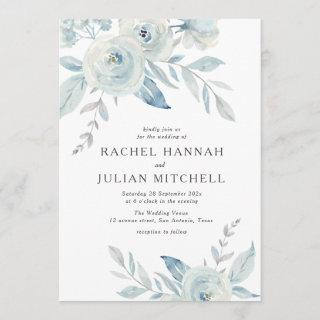 Elegant dusty blue watercolor floral wedding Invitations