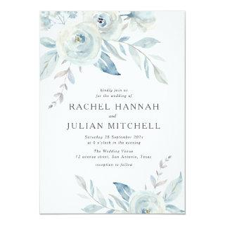 Elegant dusty blue watercolor floral wedding invitation