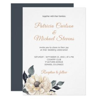 Elegant dusty orange watercolor dahlia wedding invitation