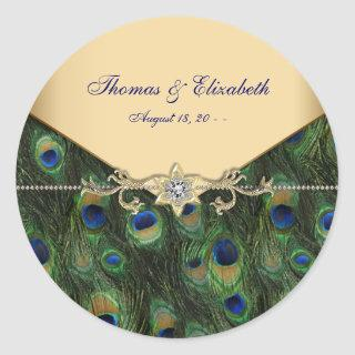 Elegant Emerald Green and Gold Peacock Wedding Classic Round Sticker