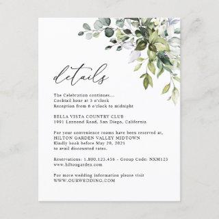 Elegant Eucalyptus Greenery Information Details Enclosure Card