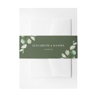 Elegant Eucalyptus Greenery Personalized Wedding Invitations Belly Band