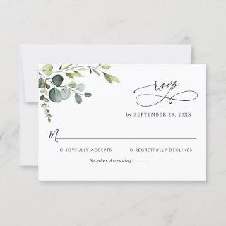 Elegant Eucalyptus Leaves Greenery Wedding RSVP Card