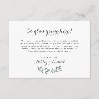 Elegant Eucalyptus Wedding Welcome Hotel Card