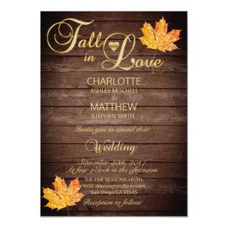 Elegant FALL in LOVE Rustic Wood Wedding Invitations