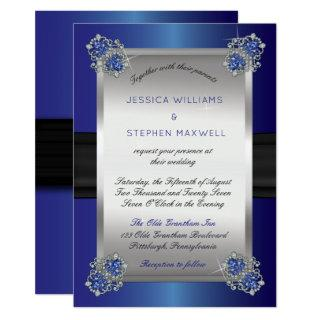 Elegant Faux Diamonds Sapphire Clasps Blue Wedding Invitation