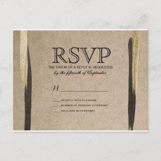 Elegant Faux Gold & Black Paint Strokes Invitation Postcard