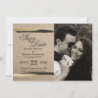 Elegant Faux Gold & Black Paint Strokes Save The Date