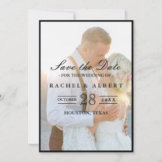 Elegant Faux Vellum Overlay Photo Wedding Save The Save The Date