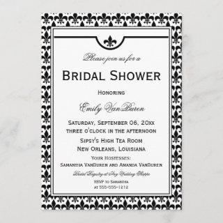 Elegant Fleur de Lis Bridal Shower - Black White Invitation
