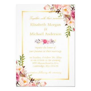 Elegant Floral Chic Gold White Formal Wedding Invitations