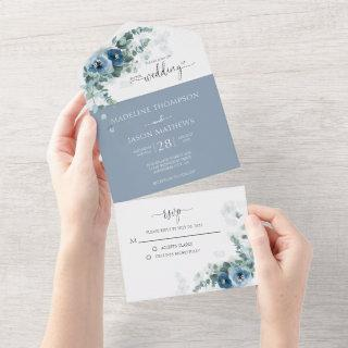 Elegant Floral Dusty Blue Watercolor Wedding All In One