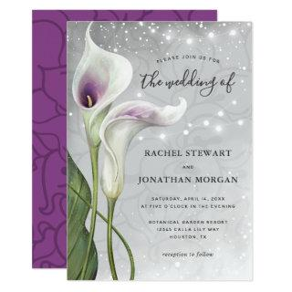 Elegant Floral Greenery Picasso Calla Lily Wedding Invitations