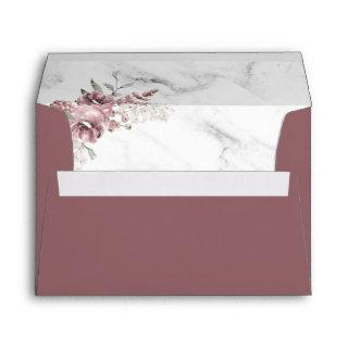 Elegant Floral Marble Wedding Invitations Envelope