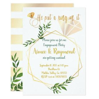 Elegant Floral Modern Chic Engagement Party Invitations