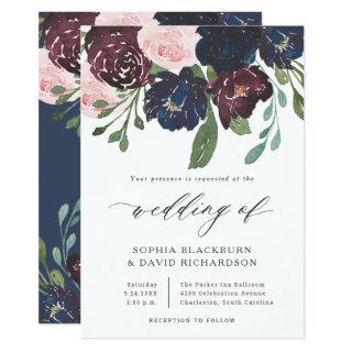 Elegant Floral Navy Blue and Plum | Wedding Invitations