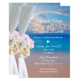Elegant Floral Ocean Beach Summer Sunset Wedding Invitations