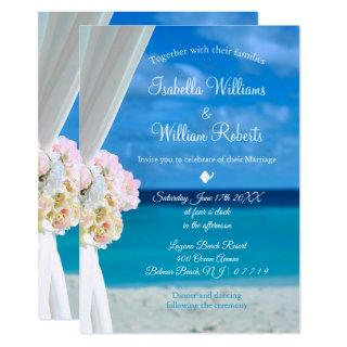 Elegant Floral Ocean Beach Summer Wedding Invitations