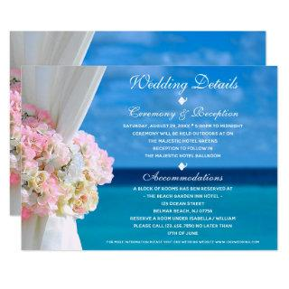 Elegant Floral Ocean Beach Wedding Details Card