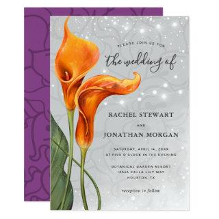 Elegant Floral Purple Orange Calla Lily Wedding Invitations