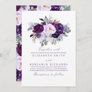 Elegant Floral | Purple Watercolors Wedding Invitations