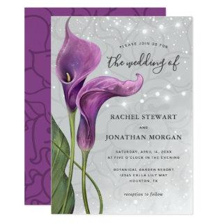 Elegant Floral Rustic Purple Calla Lily Wedding Invitation