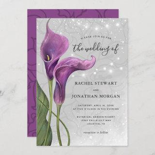 Elegant Floral Rustic Purple Calla Lily Wedding Invitations