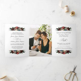 Elegant Floral Wedding Invite with Photo and RSVP
