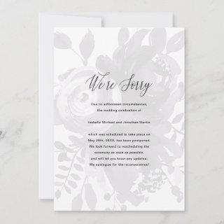 Elegant Floral Wedding Postponement Photo Announcement