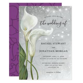 Elegant Floral White Purple Calla Lily Wedding Invitations
