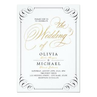 Elegant flourish calligraphy vintage wedding invitation