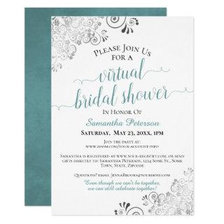 Elegant Frilly Teal on White Virtual Bridal Shower Invitations