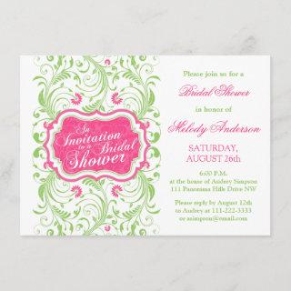 Elegant Fuchsia Pink Green Floral Bridal Shower Invitation