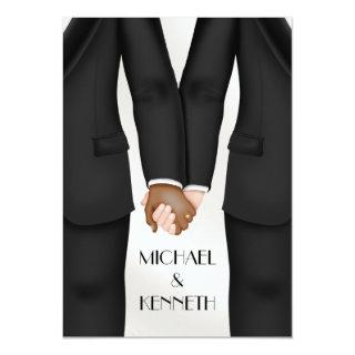 Elegant Gay Wedding Groom Holding Hands Ethnic Invitations